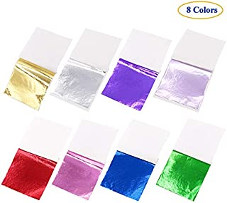8 Colors Gold Leaf Sheets Set 320/400 Sheets Imitation Hold Gold Leaf Leafing Sheets Foil Paper for Slime Nails Paintings Statues Face Wall Furniture Decorations (Red, 100 PCS)