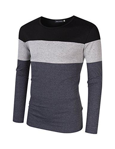 Yong Horse Men's Casual Stitching Tops Shirts Slim Fit Crew Neck Long Sleeve Basic Cotton T-Shirt XXL