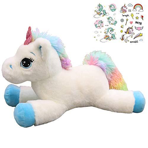 Georgie Porgy Kinder Plüach mit Einhoin Stofftier Mehrfarbigen Kuscheltier Pony Regenbogenschwanz Kuschelgeschenke für Mädchen ab 3 Jahren, Blau/Weiß