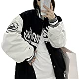 Womens Oversized Y2K Bomber Jacket Casual Boyfriend Baseball Jacket Harajuku Long Sleeve Varsity Jacket Streetwear Coat (Black, Medium)