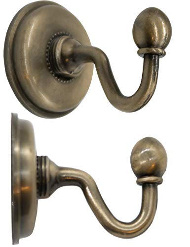 FUXXER®- 2x Antike Messing Handtuch-Haken, Wand-Haken, Klassisches Design Bronze Eisen Messing, 48 x 59 mm, 2er Set