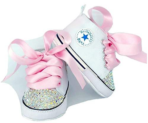 BrillaBenny Scarpine Scarpe Sneakers Strass Bianche Bimba NEONATA Baby Shoes Principessa Cerimonia Lusso 11 CM (3-6 Mesi Lunghezza Suola 11cm)
