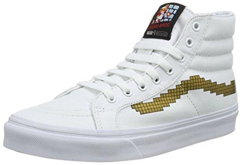 Vans SK8-Hi Slim, Zapatillas Altas Unisex Adulto, Blanco ((Nintendo) Console/Gold), 36.5 EU