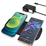 ZealSound Wireless Charging Pad, 15W Max Wireless Charger with DC Adapter for Multiple Devices, Dual Fast Chargers Station Ultra Slim PU Leather Mat for Qi-Enabled Phones and New AirPod Pro (Black)