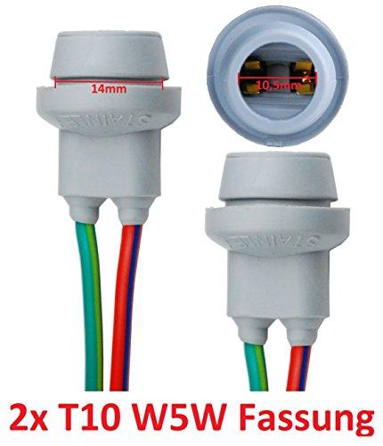 L&P B578 Lot de 2 douilles en caoutchouc T10 W5W Culot en verre pour ampoules à incandescence W2,1 x 9,5 D