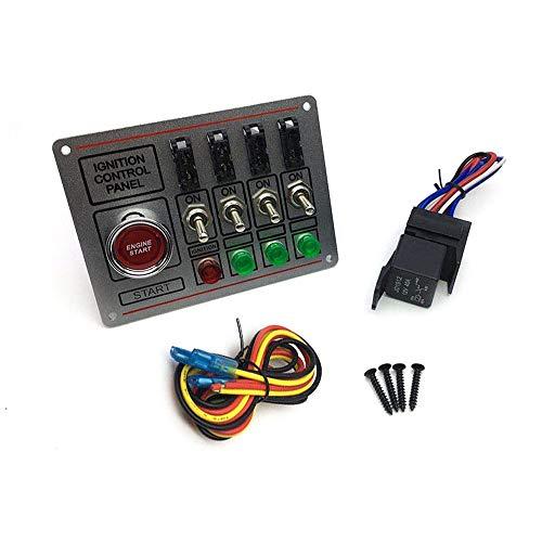RETYLY Interruptor de Encendido Panel del Interruptor del Coche + Interruptor de Apagado RáPido BotóN de Arranque del Motor con 4 Interruptores con Fusibles 4 Indicadores para Carreras