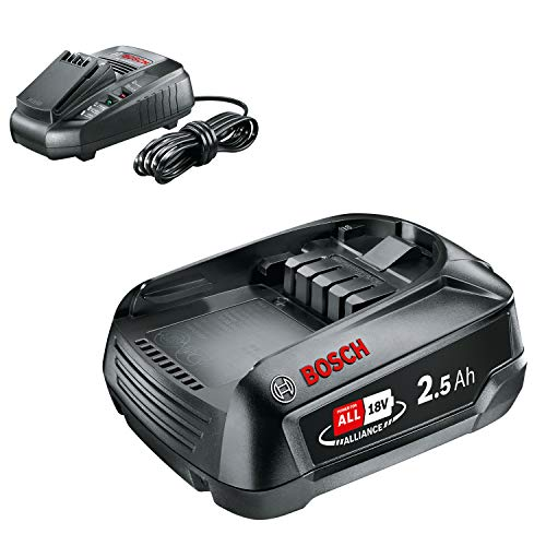 Bosch Batería de Litio de 18 V / 2,5 Ah [Power for all] + AL 1830 CV - Cargador para baterías (14,4 V y 18 V, 40 minutos, Power for all)
