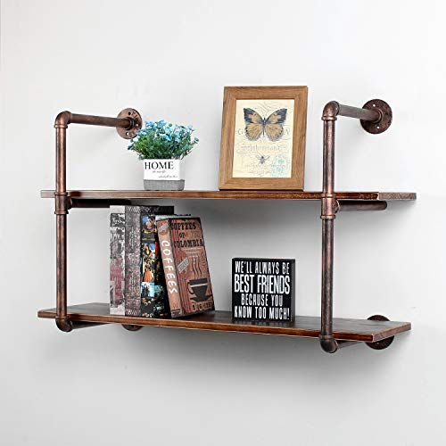 MBQQ Industrial Retro Pipe Shelf 36in 2 Tier Wall Mounted,Rustic Floating Shelves,Farmhouse Kitchen Bar Shelving,Home Decor Book Shelves,DIY Bookshelf Hanging Wall Shelves,Red Copper