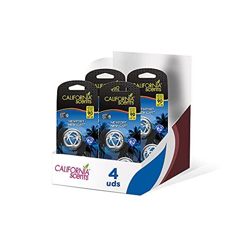 Pack de 4 - California Car Scents - Ambientador de Coche con Fragancia, Olor y Esencias a Ice, Aroma a Coche Nuevo / New Car (Minidifusores, 2UDS)
