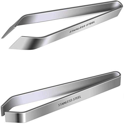 Goeielewe 2PCS Fish Bone Tweezers, Stainless Steel Flat and Slant Tweezers Pliers Remover Tool 4.7 Inches Pin Bone Removal Tool Hair Pliers Removal Tool