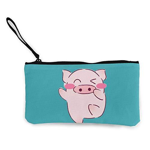 TTmom Damen Leinwand Geldbörse Portemonnaie Geldbeutel, Canvas Pencil Case - Pink Pig Durable Cosmetic Makeup Bag Zipper Closure Coin Purse Wallet Phone Pouch with Handle for Women Kids Adults