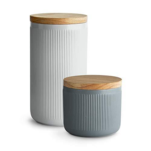 Keramik Vorratsdosen mit Holzdeckel Stripes, Luftdichter Kautschukholz-Deckel, Aufbewahrungsdosen, Frischhaltedosen - Set 2-tlg.