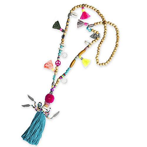 Unbekannt Kiss Me! Topmodel Ibiza Indianer Hippie Kette Halskette Handgefertigt Handmade Bunte Quaste Muscheln Münzen Peace Geflochten Glücksbringer Peace Extralang Länge 63cm