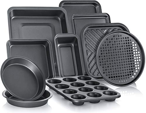 PERLLI 10-Piece Non-Stick Bakeware Set, Includes Oven Crisper, Pizza Tray, Roasting, Loaf, Muffin, Square, 2 Round Cake Baking Pans, Large and Medium Nonstick Cookie Sheet