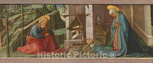 Art Print : Fra Filippo Lippi and Workshop, The Nativity, c. 1445, Historic Wall Décor : 24in x 10in