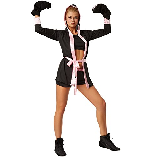 dressforfun Disfraz para mujer Boxeadora | Disfraz de boxeador con pantalón corto, top, abrigo con capucha, cinturón y guantes de boxeo (S | rosa | no. 301824)