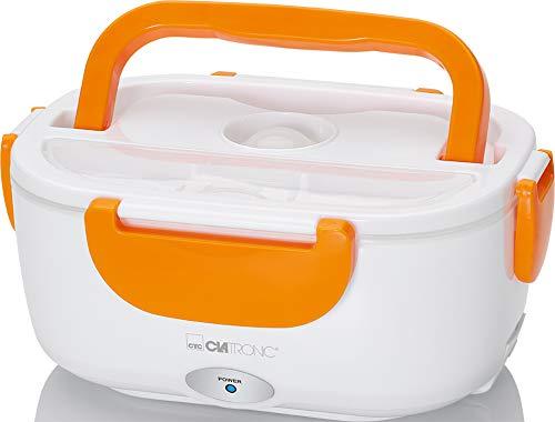Clatronic LB 3719 elektrische Lunchbox, Erwärmen von Speisen bis zu 75°C, Volumen Circa 1.7 Liter, weiß/orange, Kunststoff