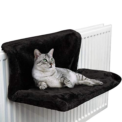 KUAIZI Winter Wall Mounted Pet Hanging Bed Cat Heater Bed Pet Hammock Removable Pet Removable(Black)