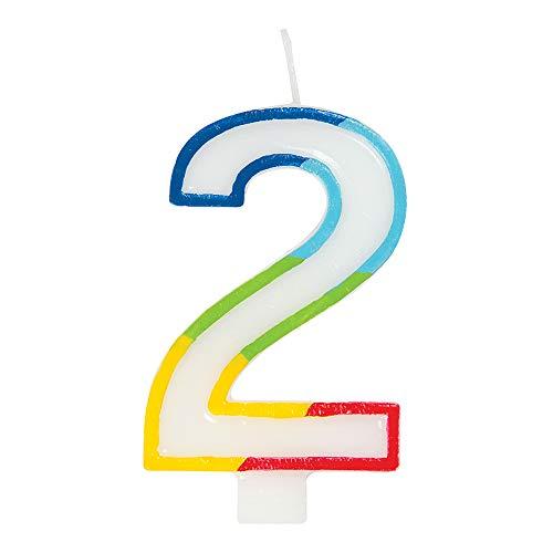 Unique Party- Vela de cumpleaños número 2 del arco iris, Color arcoíris (19942)