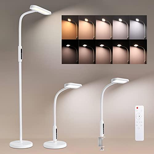 Stehleuchte LED Dimmbar, Oeegoo 12W LED Stehlampe mit Fernbedienung, (3 in 1)Touch Leselampe Tischlampe Klemmleuchte Standleuchte für Wohnzimmer Schlafzimmer Büro, Schwanenhals, CCT 2800-5500K