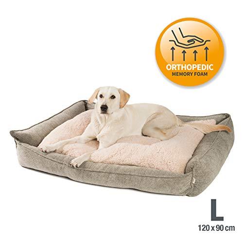 JAMAXX Premium Hundebett Orthopädisch Memory Visco Schaum Waschbar Abnehmbarer Bezug Wasserabweisend - Weiches Sofa Hundekorb Hunde-Körbchen mit Wendekissen / PDB2004 S-XL (120x90 (L), Sand
