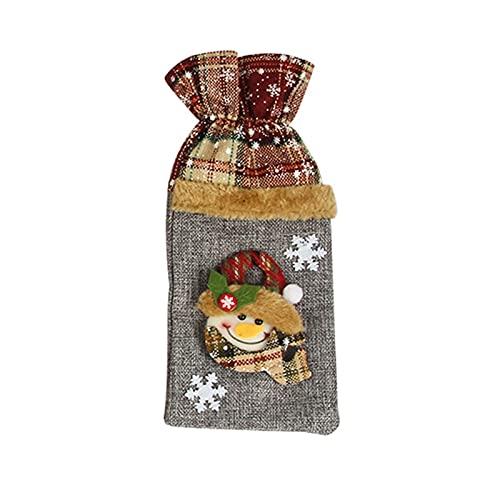 SOQNVLN Bolsa de botella de vino de Navidad, cubierta de polvo de champán, envoltura de regalo decoraciones de fiesta de Navidad para el hogar. B