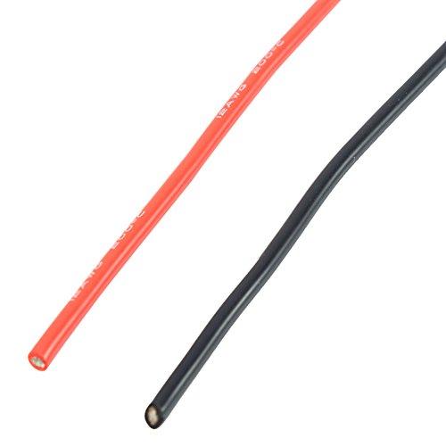 Dilwe 12AWG 2 mt Flexible Weiche Silikon Kabel Elektronische Verzinnt Kupfer Verseilt 12 Gauge Draht für RC Modelle Spielzeug (1 Meter Rot + 1 Meter Schwarz)