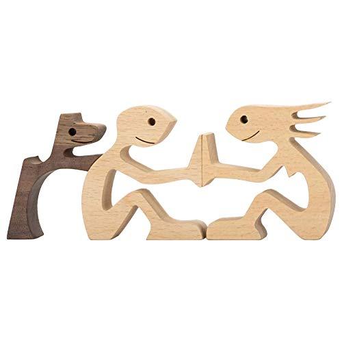 SANGSHI Escultura de madera para hombre y perro, tallada a mano, madera sin pintar, figura para tallar mascotas, amantes de los regalos, escultura de madera