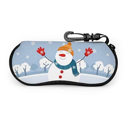 AEMAPE Estuche para anteojos amigable con muñeco de nieve navideño pequeño y amigable Estuche para anteojos para niños Estuche para gafas con cremallera de neopreno para mujer