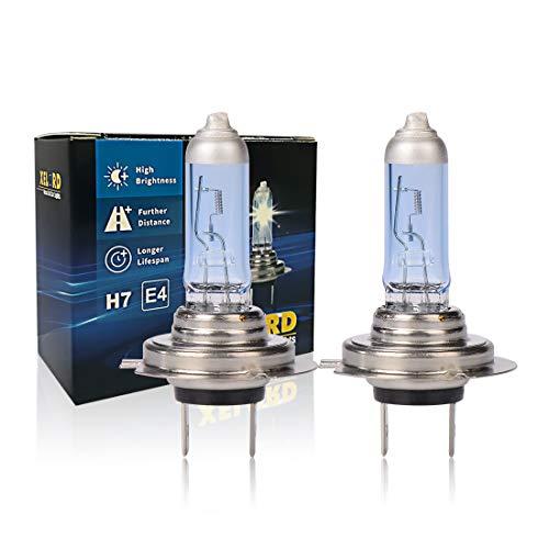 XELORD H7 Ampoules Halogènes 55W 12V,Pour Phares De Voiture,Feux De Route/Croisement de Remplacement,Certification E-Mark (2 pièces)