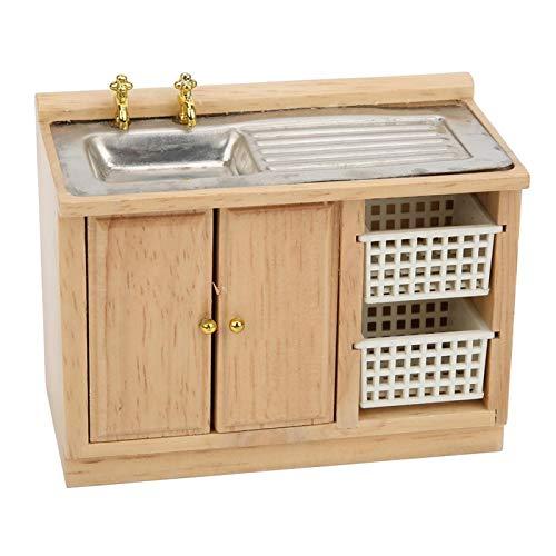 fuwinkr 1:12 Muebles para muñecas en Miniatura, Lavabo para casa de muñecas, Lavabo para baño, Fregadero para casa de muñecas, Fregadero de Cocina con cestas, Muebles Modernos para casa de muñecas