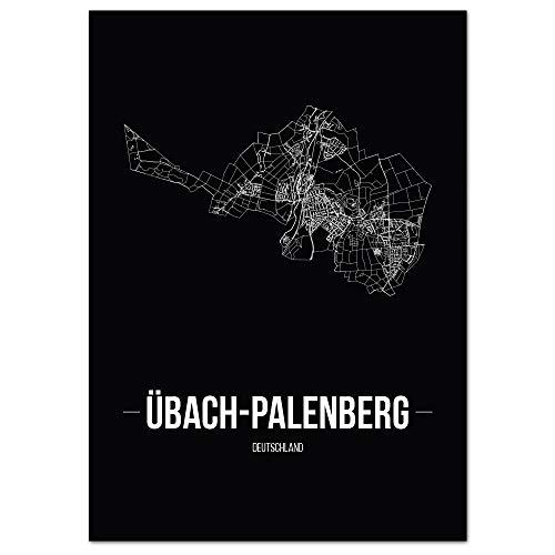 JUNIWORDS Stadtposter - Wähle Deine Stadt - Übach-Palenberg - 30 x 40 cm Poster - Schrift B - Schwarz