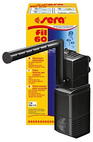 Sera Filtro Interior de Acuario Fil 60 06843, 380l h para acuarios de hasta 60litros, con Estructura Modular con Filtro (con Esponja y carbón Activo)