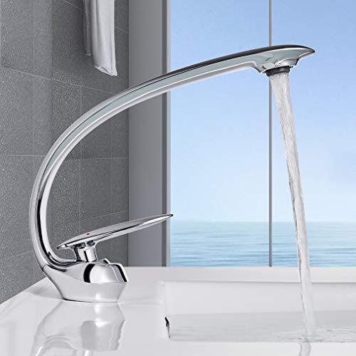 BONADE Waschtischarmatur Armatur Waschbecken Wasserhahn Bad Mischbatterie Badarmatur Waschbeckenarmatur aus Messing Verchromt Einhebel Waschtischmischer für Badezimmer Waschtisch