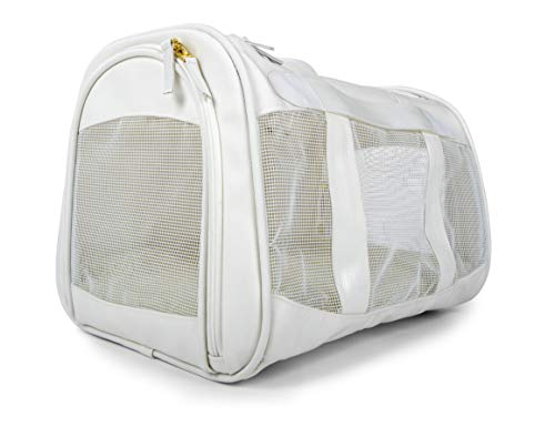 Sherpa, Travel Element Pet Carrier, Easily Wipes Clean, Airline Approved, with Carrying Strap, Mesh Windows, Safety Locks & Spring Frame, White, Medium