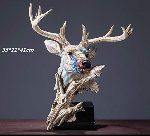 hacpigbb Pintura Al Óleo Pintada A Mano Serie Animal Estatua Arte Decoración Simple Moderna Sala Decoración Regalo De Boda - Cabeza De Ciervo