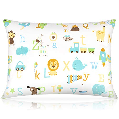 Toddler Pillow,13 x 18 Inch Kids Pillows for Sleeping, Machine Washable Small Infant Baby Pillow for Travel, Bed Set, with Soft Organic Cotton Pillowcase (ABC Animal Paradise, 1 Pack)