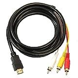 HDMI a RCA, 3 cable de HDMI a RCA adaptador convertidor de cable, hilo transmisor de una vía de transmisión de HDMI a RCA 1.5m