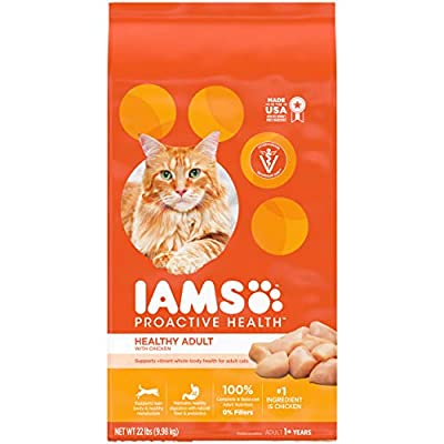 IAMS PROACTIVE HEALTH Adult Healthy Dry Cat Food with Chicken, 22 lb. Bag
