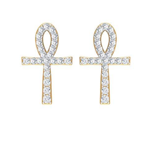 Pendientes de tuerca de cruz, HI-SI 0,18 ct redondo diamante pendientes, pendientes religiosos cristianos, pendientes de dama de honor, pendientes de boda, regalos de aniversario 18K Oro amarillo, Par