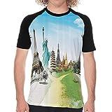 Camiseta de Manga Corta para Hombre,Vuelo en avión sobre monumentos y Maravillas del Mundo Eiffel Tailandia Imagen,Divertidas Imprimir gráfica con Cuello Redondo y diseño Creativo M
