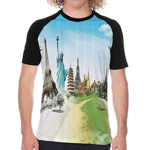 Camiseta de Manga Corta para Hombre,Vuelo en avión sobre monumentos y Maravillas del Mundo Eiffel Tailandia Imagen,Divertidas Imprimir gráfica con Cuello Redondo y diseño Creativo XXL