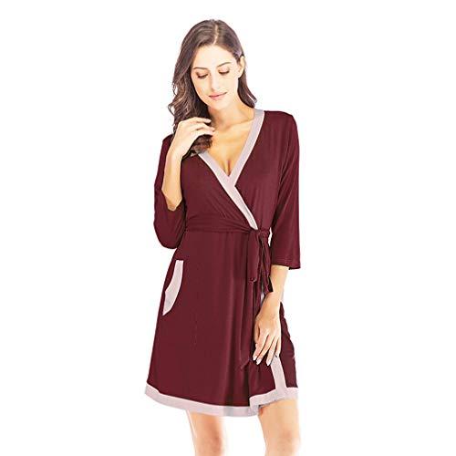 LFNIU Pijamas modales para mujer, ropa de hogar de otoño, estilo ligero y sencillo, pijamas cómodos, camisón con costuras femeninas