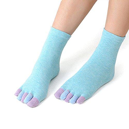 YWLINK Winter Warm Zehensocken Damen Baumwolle Regenbogen Mid Tube MäDchen FüNf Finger Socke