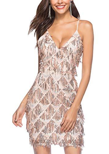 FEOYA - Vestido de mujer con cuello en V sexy para mujer, con lentejuelas, con tirantes ajustables, vestido de salsa para mujer, año 20 S-XL, 2 colores, Mujer, champán, large