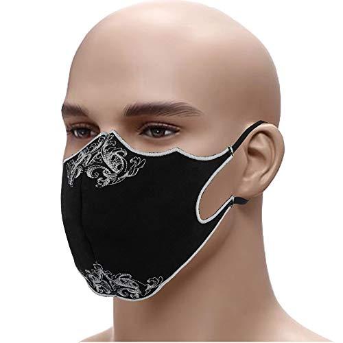 Designer Schutzmaske Edel gestickter Mundschutz Gesichtsmaske➤60° waschbar swz