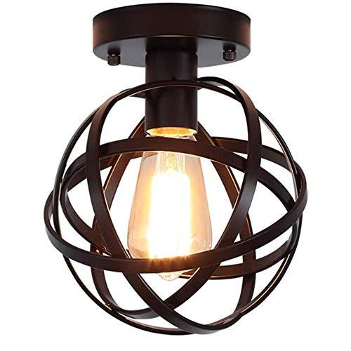 LIULIU Loft Retro Industrie Wind Deckenleuchte Glaswasc Metall schwarz Lampe Eingang Foyer Flur-Decken-Lampen Vintage-E27 (Lichtquelle Nicht enthalten), Bügeleisen, Schwarz,A