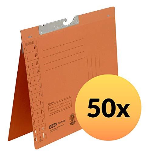 ELBA 100560084 Pendelhefter 50er Pack Amtsheftung und Schlitzstanzung im Vordeckel 250 g/m² Manila-Karton orange