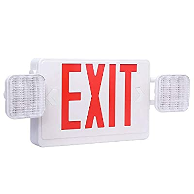 Harmonic LED Exit Sign UL Certified AC 120V/277V Red Emergency Exit Lights with Battery Backup Commercial Grade and Fire Resistant Exit Emergency Lighting with 2 Adjustable Head Lights