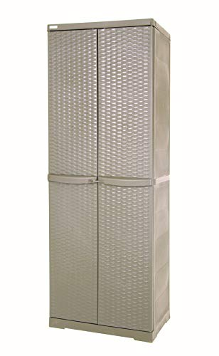 Trioplast Armadio da Esterno Tortora Portascope 6224-21 - Mobili Multiuso Rattan Line 65x45x180 cm
